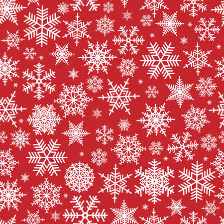 Illustration of Christmas pattern with white snowflakes on red background