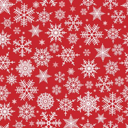 motivos navide�os: Ilustraci�n de patr�n de Navidad con copos de nieve blancas sobre fondo rojo