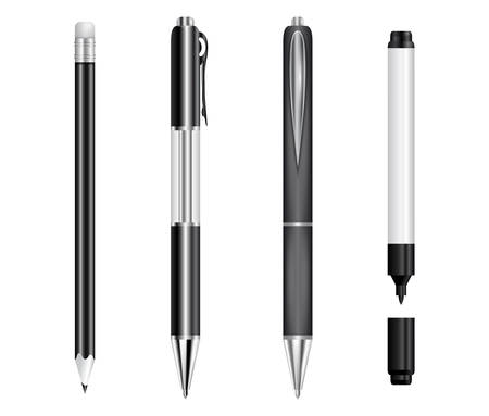 Illustration of black pens, pencil and marker isolated Stock Illustratie