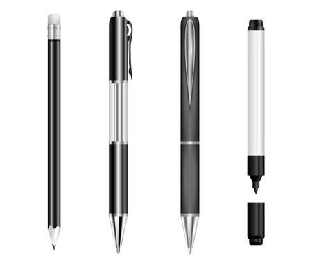 rotulador: Ilustración de plumas negro, lápiz y marcador aislado
