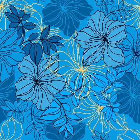 laurier rose: Illustration de Seamless floral pattern dans les couleurs bleu, noir et jaune