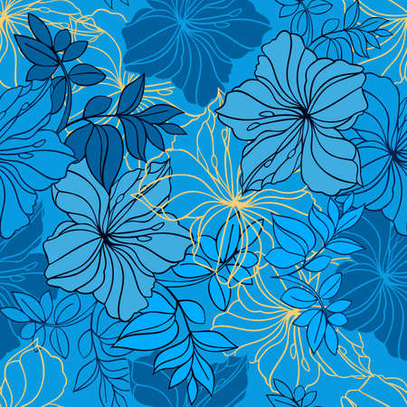 oleander: Illustration of seamless  floral pattern in blue, black and yellow colors Illustration