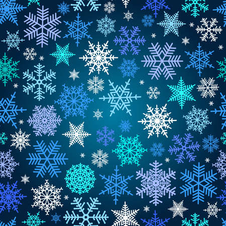 Illustration of Christmas pattern with snowflakes in various colors on blue background