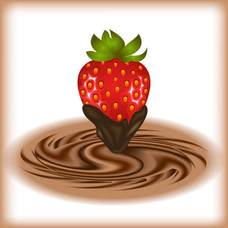 Illustration of strawberry and smooth chocolate swirl background