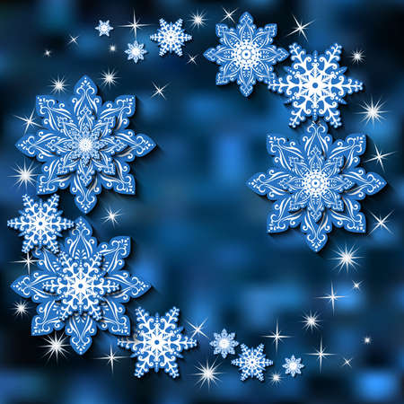 Illustration of Christmas background in white and blue colors with snowflakes in various styles