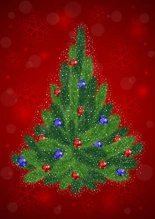 bushy plant: Illustration of Christmas tree with red and blue balls on red background Illustration