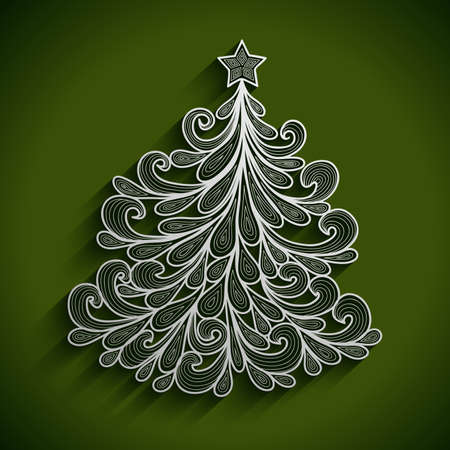 festal: Illustration of abstract Christmas tree with star top on green background Illustration