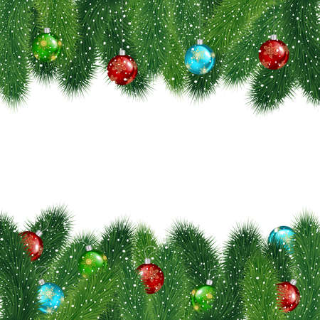 bushy plant: Illustration of Christmas fir tree branches with colorful balls covered with snow isolated