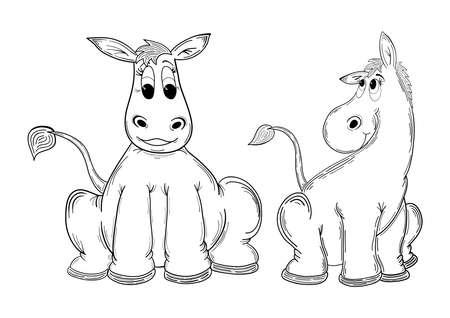 mules: Illustration of cute cartoon donkeys or mules isolated