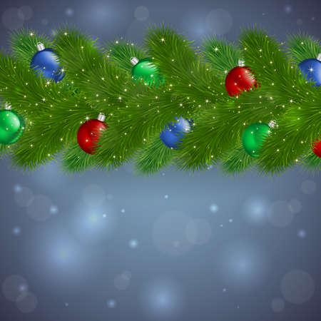 bushy plant: Illustration of Christmas fir tree branches with colorful balls and bokeh background