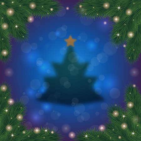festal: Illustration of fuzzy Christmas tree with top star, fir tree branches frame and bokeh background