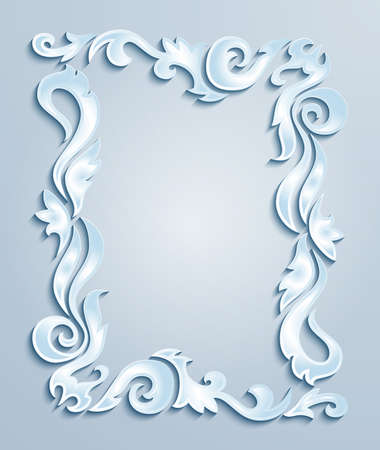 Illustration of abstract frame from floral cutouts in blue, grey and white colors