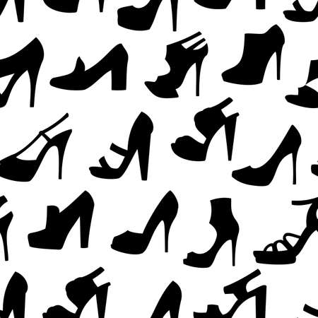 silhouette woman: Illustration of seamless pattern with female shoes isolated