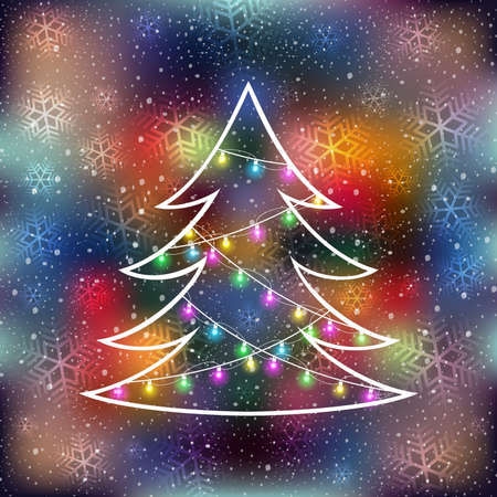 Illustration of abstract Christmas tree with garlands, snowflakes and colorful fuzzy background