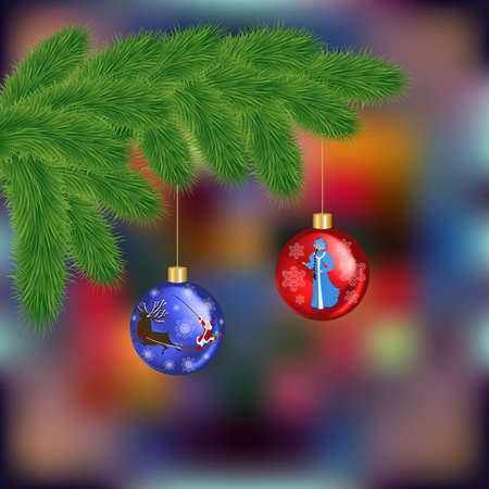 Illustration of Christmas tree branches with balls on colorful fuzzy background
