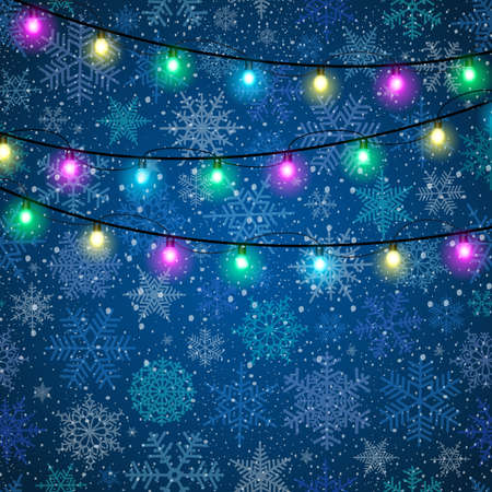 christmas lights: Illustration of Christmas lights with snowflake background Illustration