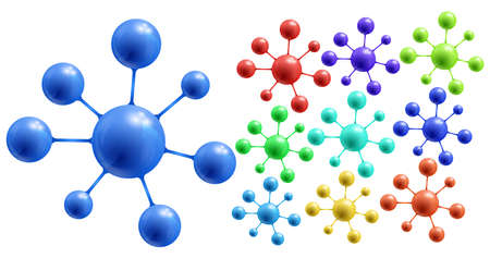 Illustration of abstract colorful molecules collection isolated Vector