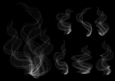 vapor trail: Illustration of smoke clouds collection on black background Illustration