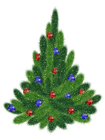 Illustration of Christmas tree with red and blue balls covered with snow isolated Illustration
