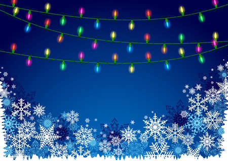 Illustration of Christmas background with blue and white snowflakes in various styles and colorful lights Illustration
