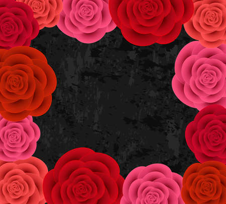 Illustration of abstract colorful paper roses frame on dark grunge background