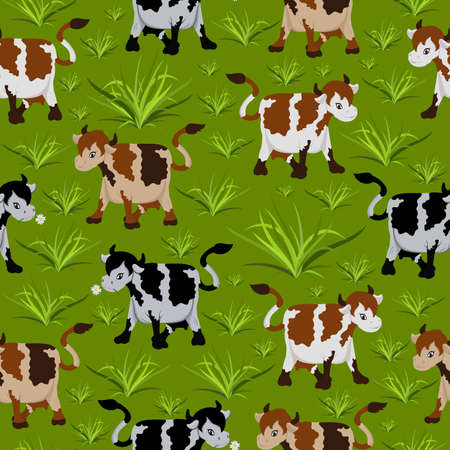 Illustration of seamless pattern with cows in black and brown colours on green background Illustration