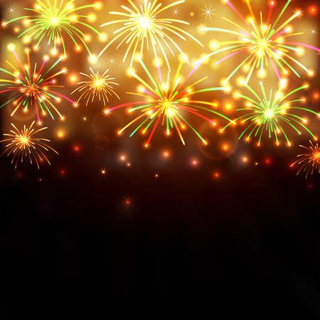 Illustration of colorful fireworks on black background
