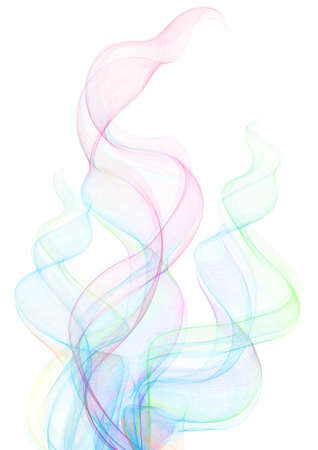 Illustration of smoke clouds in various colors isolated