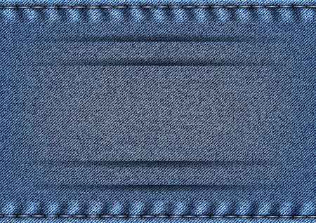 Illustration of blue denim texture with stitch borders and banner