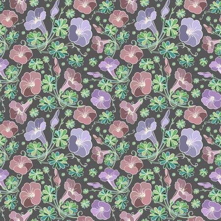 Illustration of seamless floral pattern on grey background Illustration