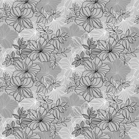 laurier rose: Illustration de seamless floral pattern dans les couleurs gris, noir et blanc
