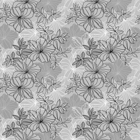 oleander: Illustration of seamless  floral pattern in grey, black and white colors