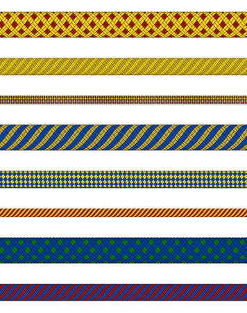 Illustration of woven ropes in various colors isolated Illustration