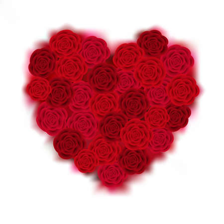 Illustration of valentines day heart made of red and pink roses isolated
