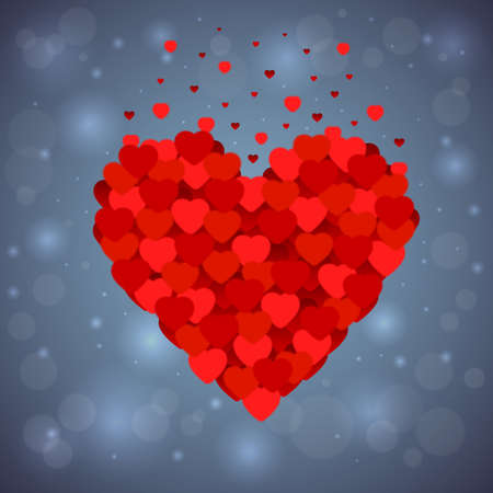 Illustration of valentines day heart made of small red and pink hearts on bokeh background