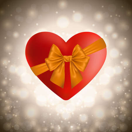 festal: Illustration of valentines day card with red heart, golden bow and bokeh background