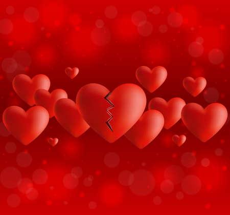 dessin coeur: Illustration du mod�le de valentines de carte de journ�e avec le c?ur bris� et bokeh