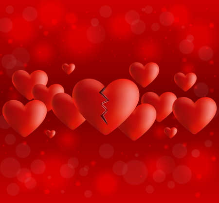 Illustration of valentines day card template with broken heart and bokeh background Illustration