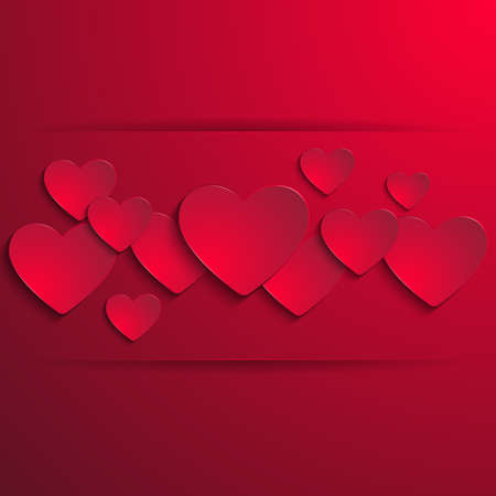 cordial: Illustration of valentines day card template with paper heart cutouts and banner
