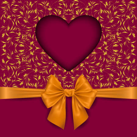 Illustration of valentines day card template with heart cutout, floral background and photorealistic bow Illustration