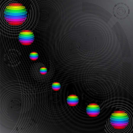 Illustration of abstract background with colorful sliced transparent spheres and geometric elements