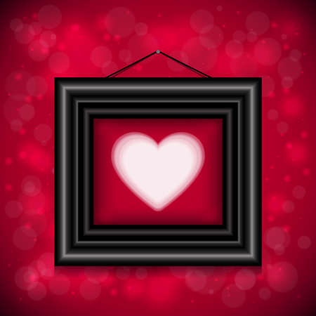 cordial: Illustration of valentines day card template with heart, frame and bokeh background