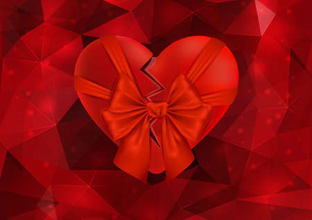 cordial: Illustration of valentines day card with broken red heart, bow and triangle background