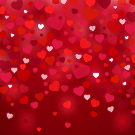 cordial: Illustration of valentines day card template with colorful hearts and fuzzy background Illustration
