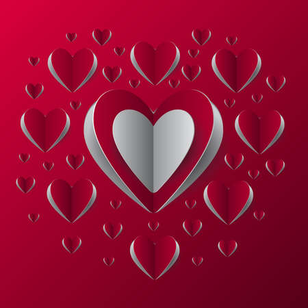 Illustration of valentines day card template with paper heart cutouts