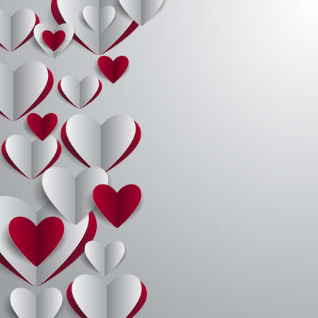 cutouts: Illustration of valentines day card template with paper heart cutouts