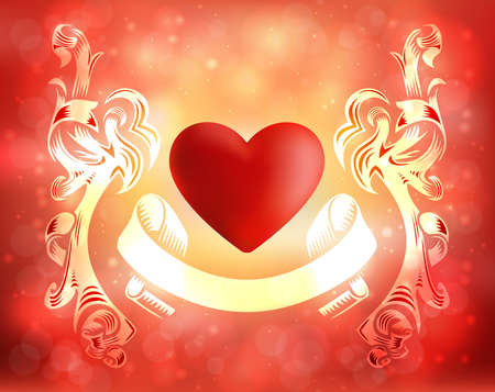 cordial: Illustration of valentines day card template with ribbon borders, banner, heart and fuzzy background Illustration