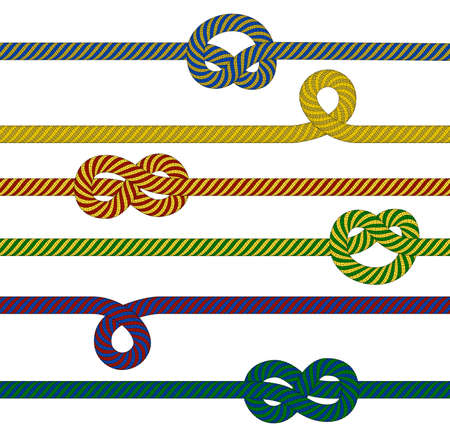 spliced: Illustration of woven ropes in various colors isolated Illustration