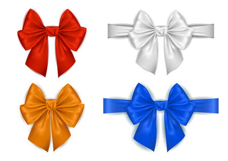 Illustration of colorful photorealistic silk bows and ribbons isolated Vector