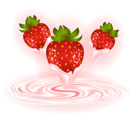 Illustration of strawberries and smooth cream swirl background